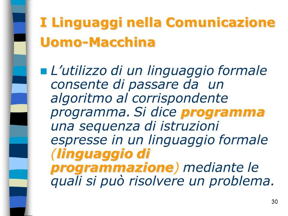 I Linguaggi nella Comunicazione Uomo-Macchina