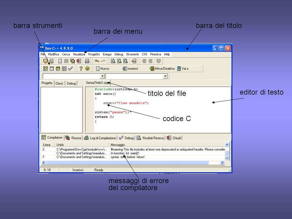 barra strumentibarra del titolo. barra dei menu. messaggi di errore del compilatore. titolo del file.