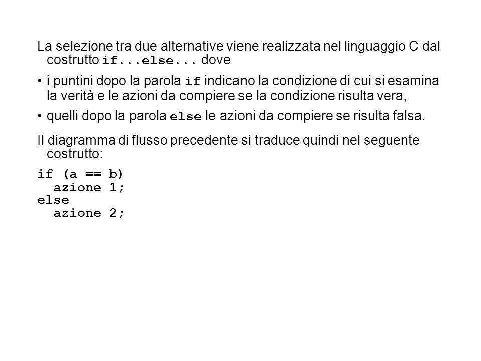 La selezione tra due alternative viene realizzata nel linguaggio C dal costrutto if...else... dove