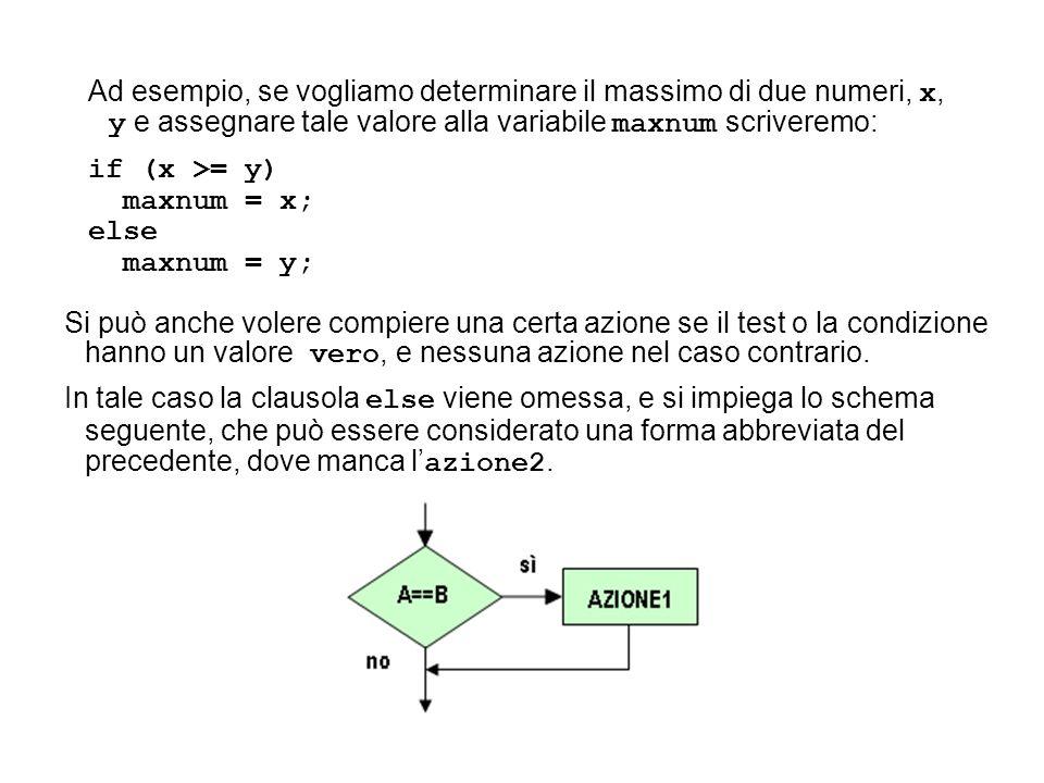 Ad esempio, se vogliamo determinare il massimo di due numeri, x, y e assegnare tale valore alla variabile maxnum scriveremo: