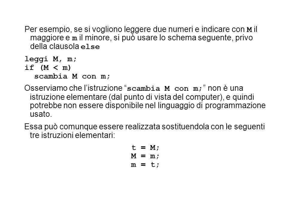 Per esempio, se si vogliono leggere due numeri e indicare con M il maggiore e m il minore, si può usare lo schema seguente, privo della clausola else