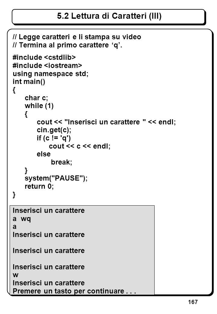 3.6 Tipo carattere (II) Ordinamento: