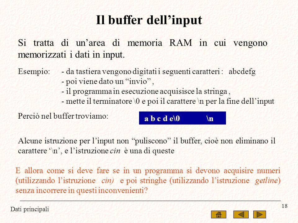 Il buffer dell'input Si tratta di un'area di memoria RAM in cui vengono memorizzati i dati in input.