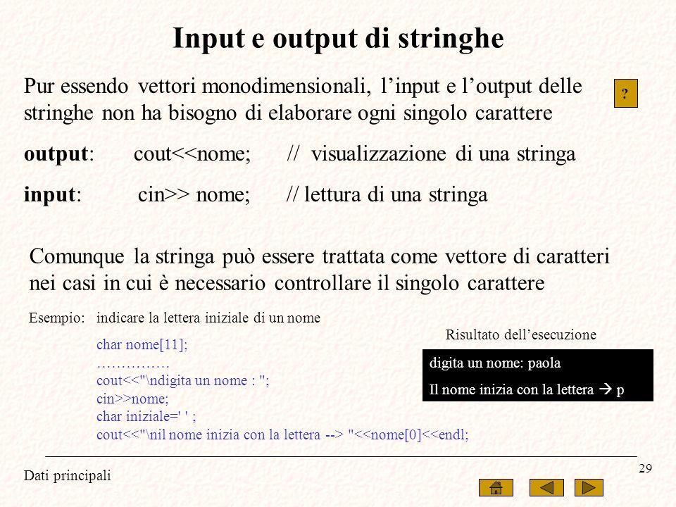 Input e output di stringhe