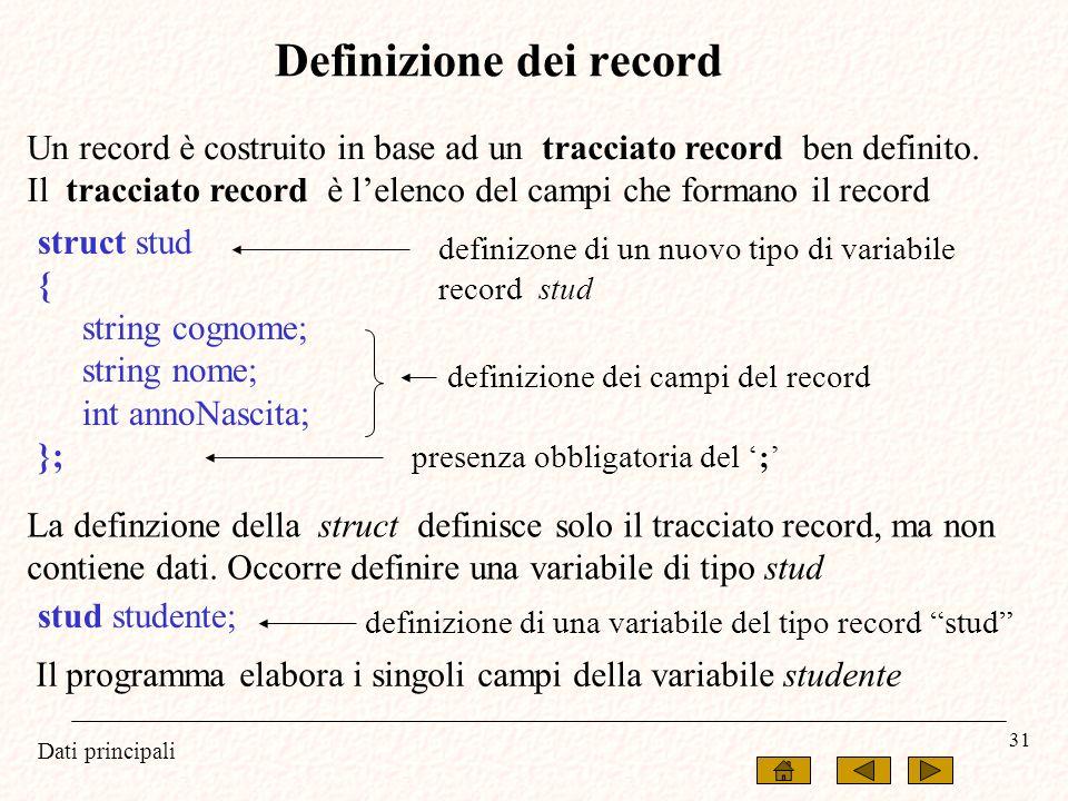 Definizione dei record