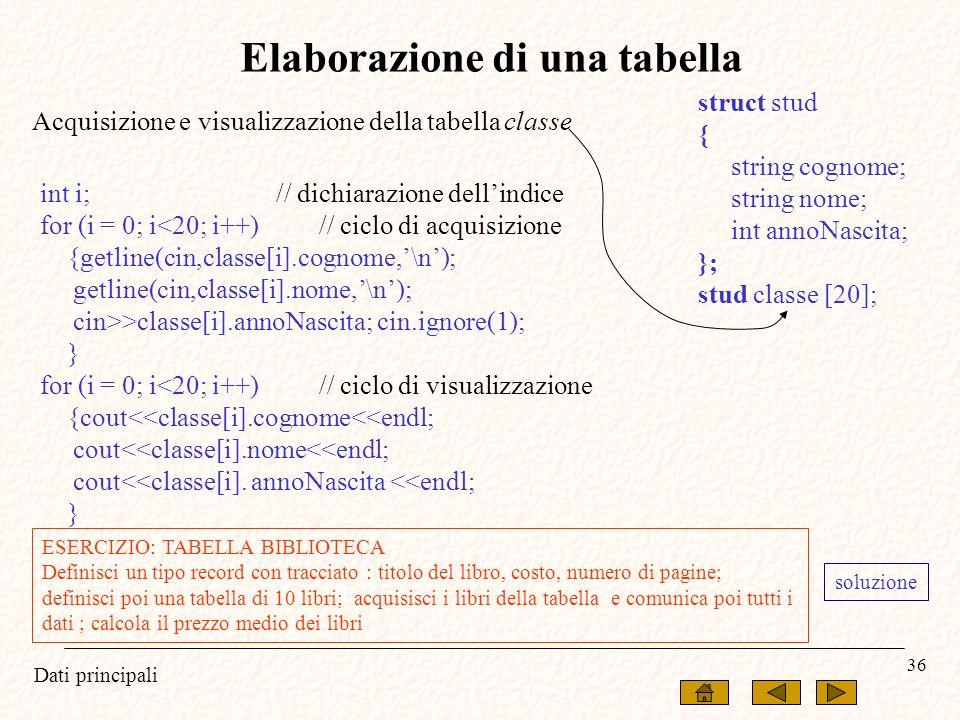 Elaborazione di una tabella