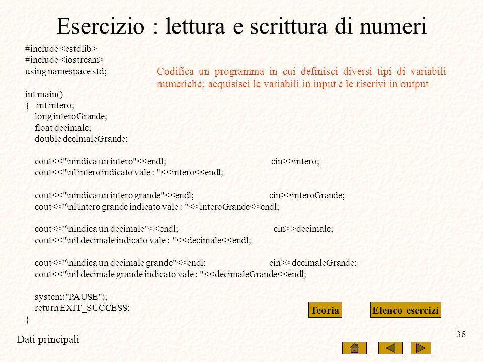 Esercizio : lettura e scrittura di numeri