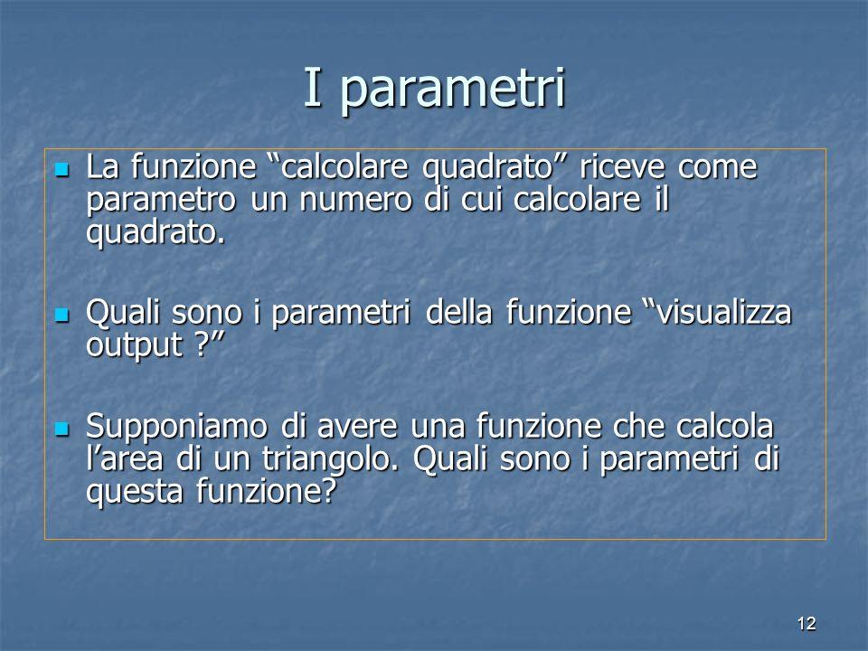 I parametri La funzione calcolare quadrato riceve come parametro un numero di cui calcolare il quadrato.