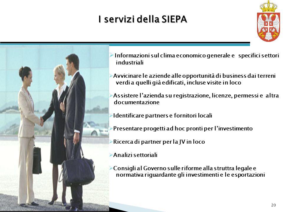 I servizi della SIEPA Informazioni sul clima economico generale e specifici settori industriali.