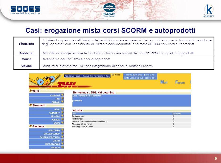 Casi: erogazione mista corsi SCORM e autoprodotti