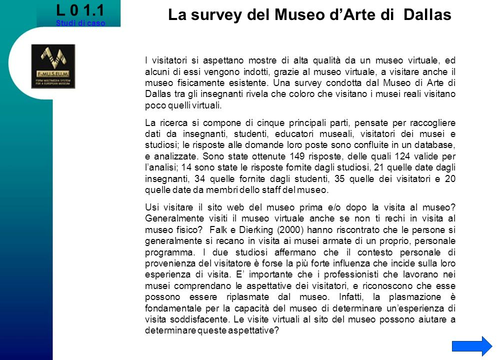 La survey del Museo d'Arte di Dallas