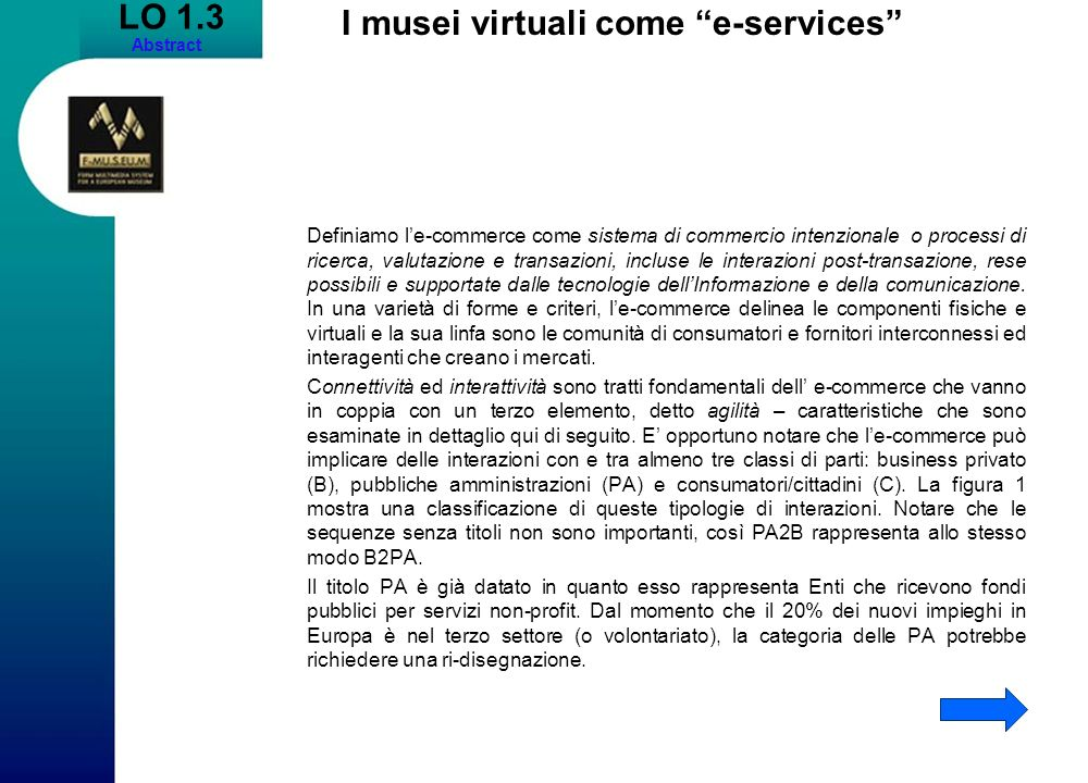 I musei virtuali come e-services