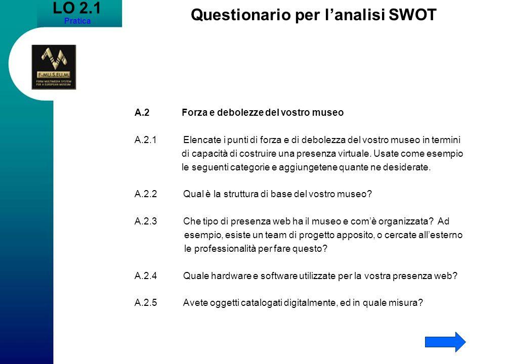 Questionario per l'analisi SWOT