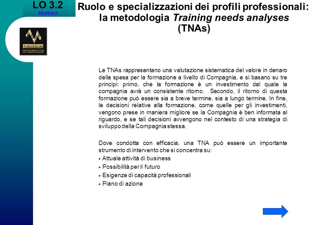 LO 3.2Abstract. Ruolo e specializzazioni dei profili professionali: la metodologia Training needs analyses (TNAs)