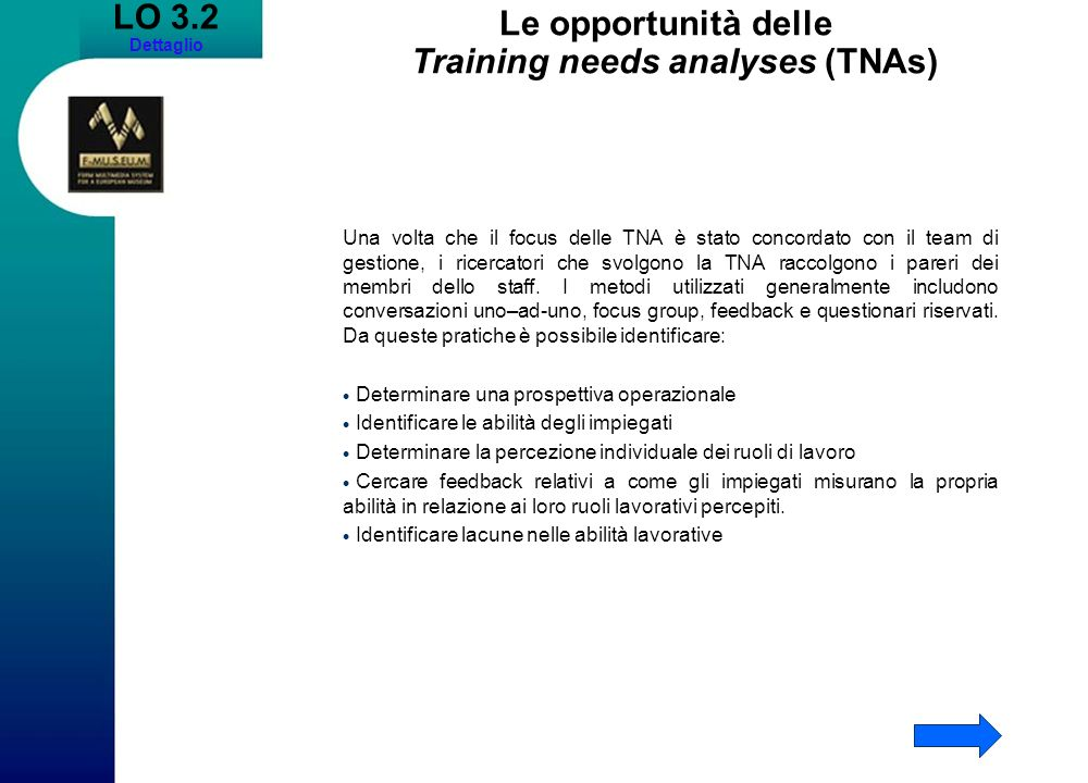Le opportunità delle Training needs analyses (TNAs)
