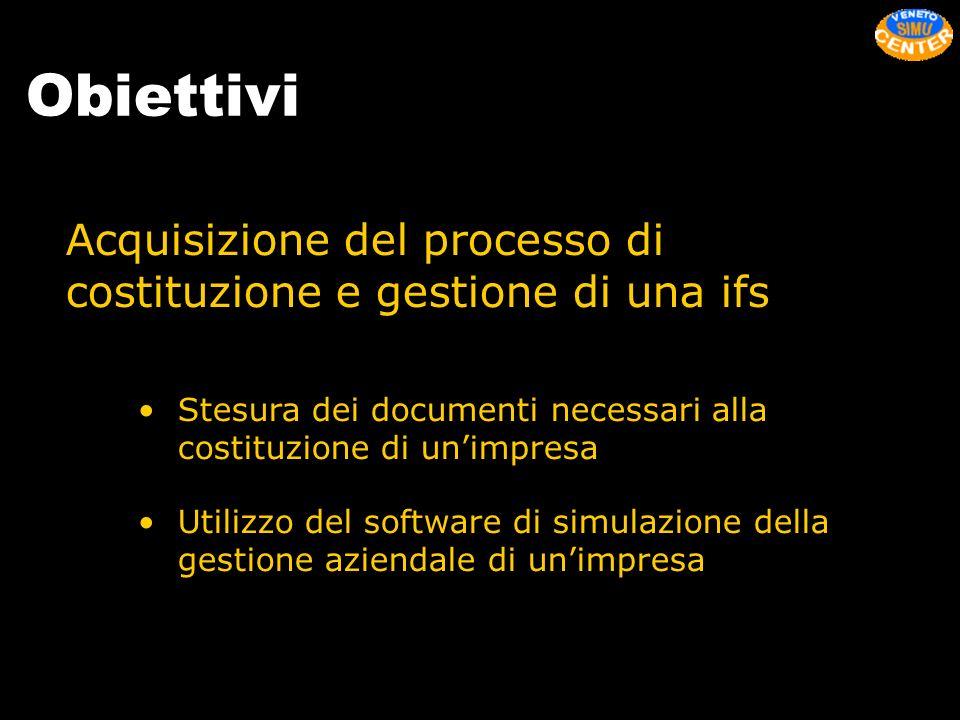 Obiettivi Acquisizione del processo di costituzione e gestione di una ifs. Stesura dei documenti necessari alla costituzione di un'impresa.