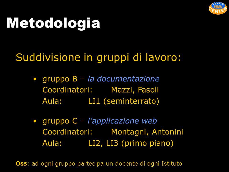 Metodologia Suddivisione in gruppi di lavoro: