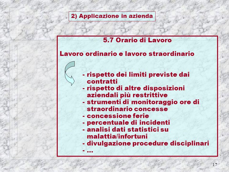 2) Applicazione in azienda