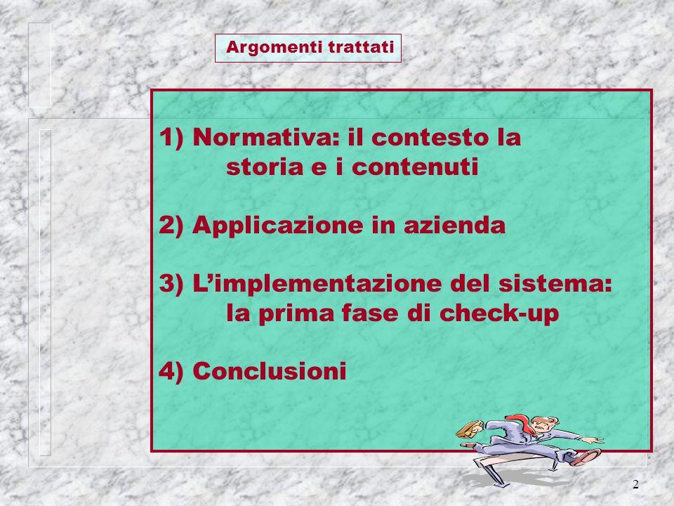 1) Normativa: il contesto la storia e i contenuti
