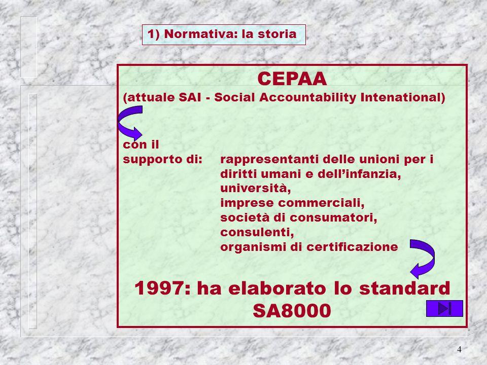 1997: ha elaborato lo standard SA8000