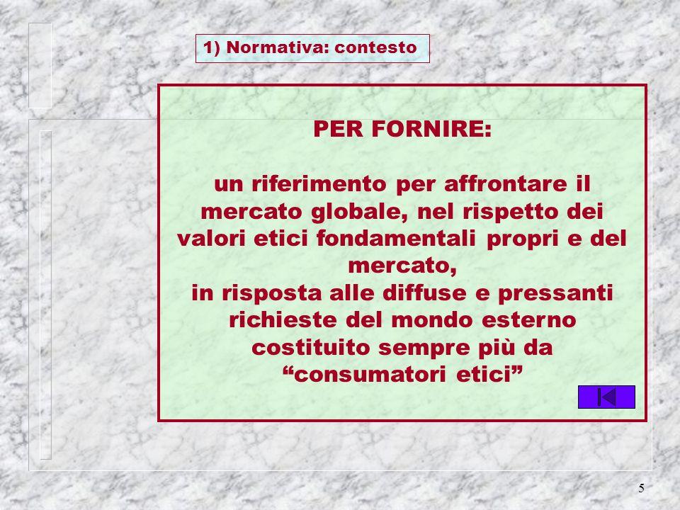 1) Normativa: contesto PER FORNIRE: