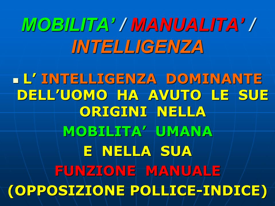 MOBILITA' / MANUALITA' / INTELLIGENZA
