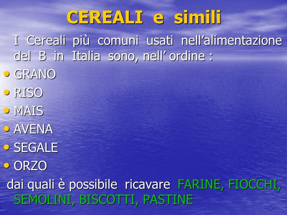 CEREALI e simili I Cereali più comuni usati nell'alimentazione del B in Italia sono, nell' ordine :