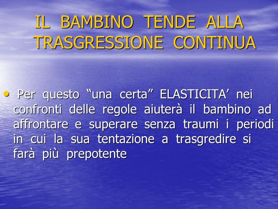 IL BAMBINO TENDE ALLA TRASGRESSIONE CONTINUA