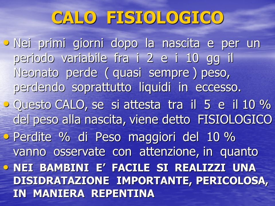 CALO FISIOLOGICO