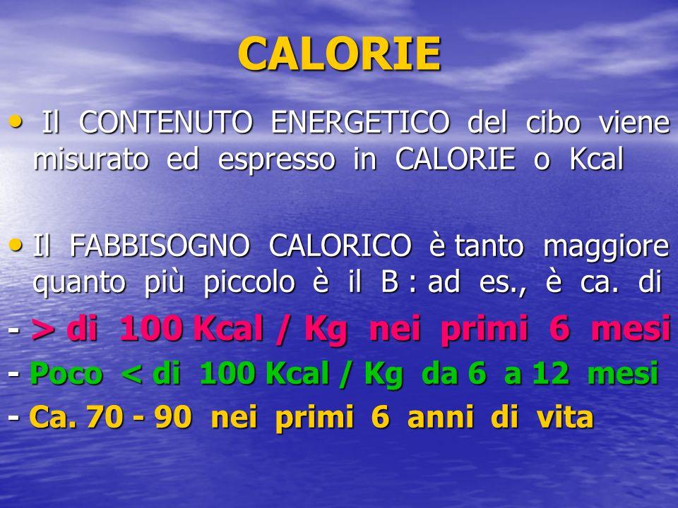 CALORIE Il CONTENUTO ENERGETICO del cibo viene misurato ed espresso in CALORIE o Kcal.