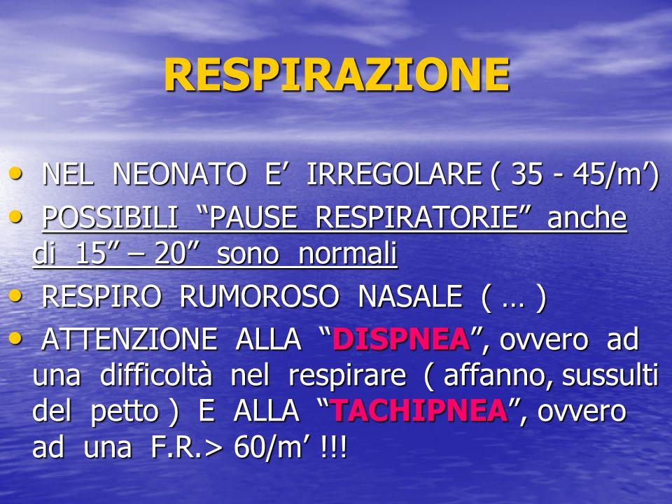 RESPIRAZIONE NEL NEONATO E' IRREGOLARE ( 35 - 45/m')