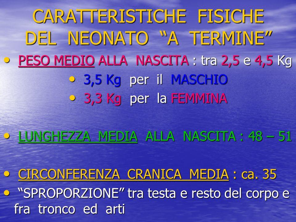 CARATTERISTICHE FISICHE DEL NEONATO A TERMINE