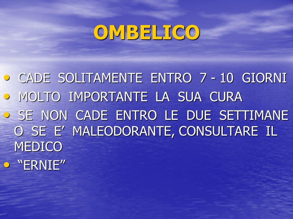 OMBELICO CADE SOLITAMENTE ENTRO 7 - 10 GIORNI