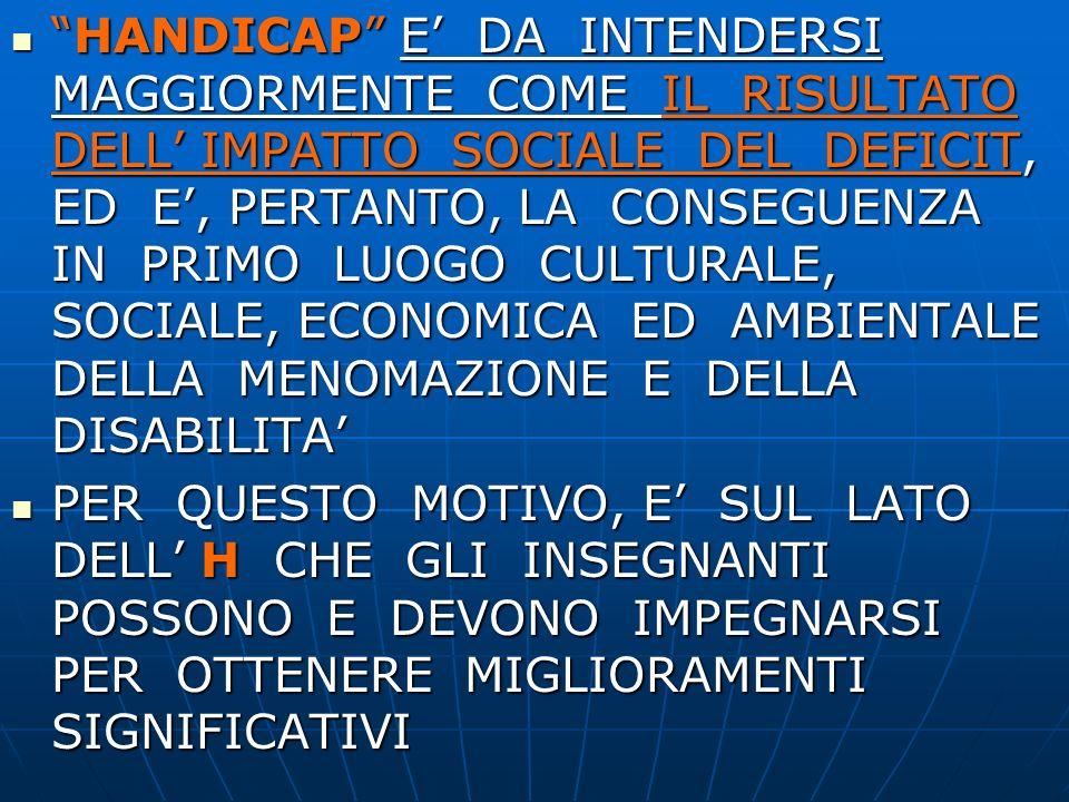 HANDICAP E' DA INTENDERSI MAGGIORMENTE COME IL RISULTATO DELL' IMPATTO SOCIALE DEL DEFICIT, ED E', PERTANTO, LA CONSEGUENZA IN PRIMO LUOGO CULTURALE, SOCIALE, ECONOMICA ED AMBIENTALE DELLA MENOMAZIONE E DELLA DISABILITA'