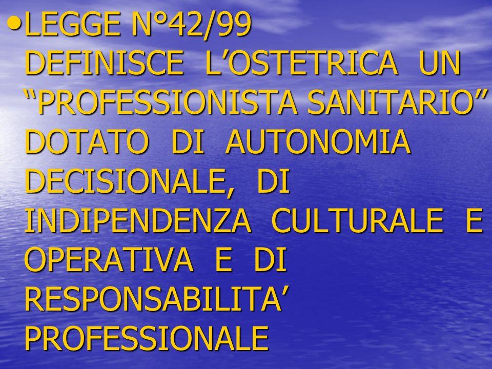LEGGE N°42/99 DEFINISCE L'OSTETRICA UN PROFESSIONISTA SANITARIO DOTATO DI AUTONOMIA DECISIONALE, DI INDIPENDENZA CULTURALE E OPERATIVA E DI RESPONSABILITA' PROFESSIONALE