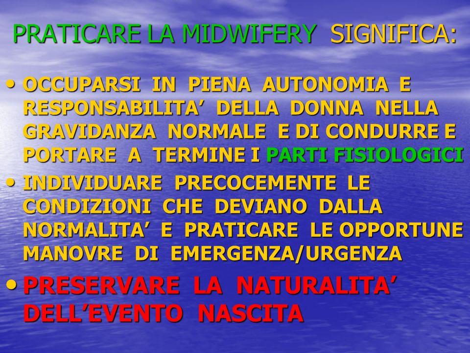 PRATICARE LA MIDWIFERY SIGNIFICA: