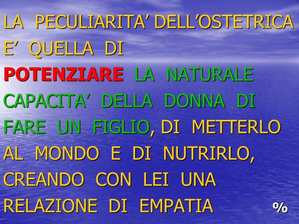 LA PECULIARITA' DELL'OSTETRICA