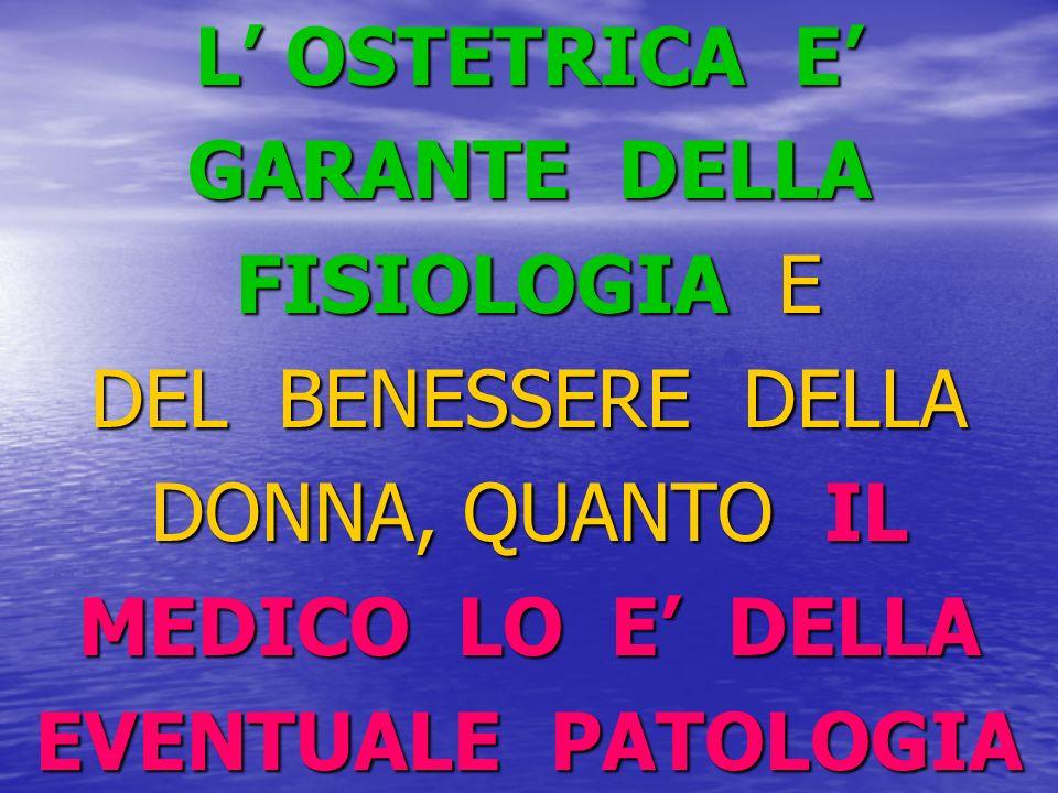L' OSTETRICA E' GARANTE DELLA. FISIOLOGIA E. DEL BENESSERE DELLA. DONNA, QUANTO IL. MEDICO LO E' DELLA.