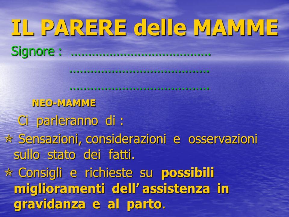 IL PARERE delle MAMME Signore : …………………………………. ………………………………….
