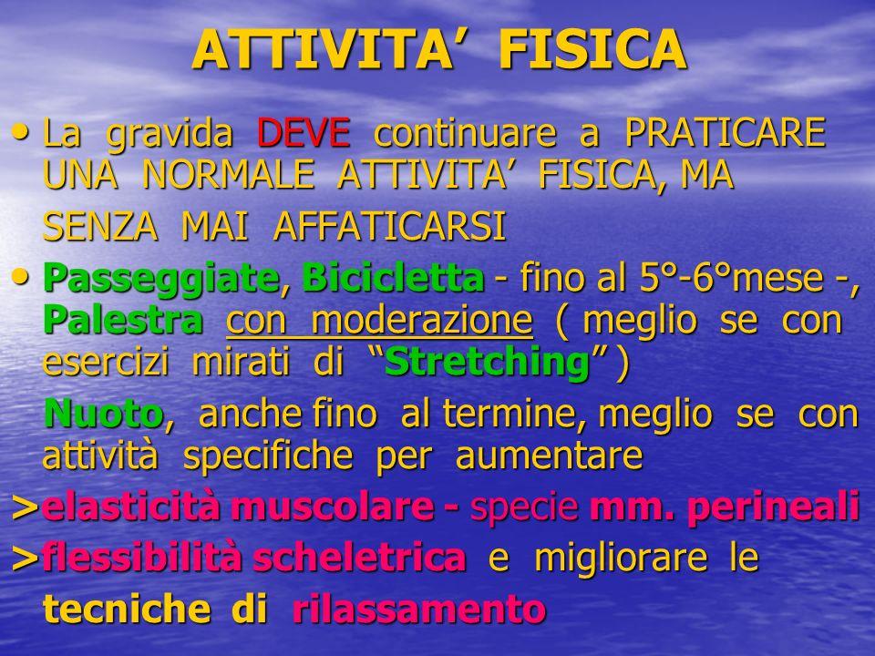 ATTIVITA' FISICALa gravida DEVE continuare a PRATICARE UNA NORMALE ATTIVITA' FISICA, MA. SENZA MAI AFFATICARSI.