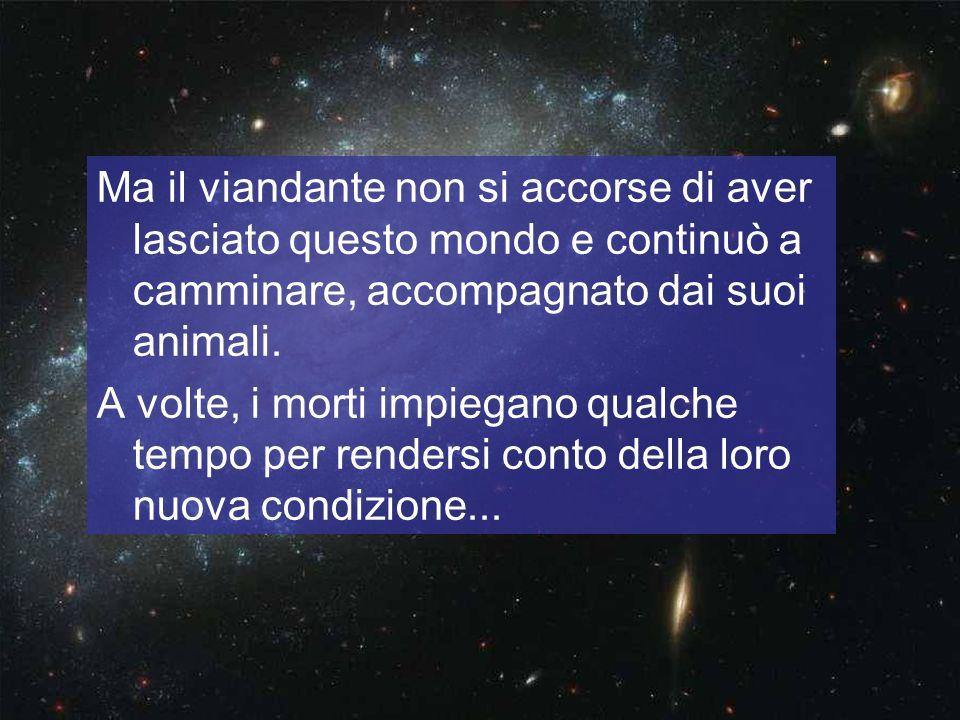 Ma il viandante non si accorse di aver lasciato questo mondo e continuò a camminare, accompagnato dai suoi animali.