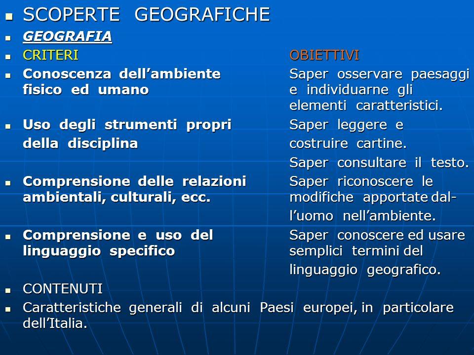 SCOPERTE GEOGRAFICHE GEOGRAFIA CRITERI OBIETTIVI