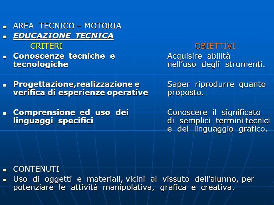 AREA TECNICO – MOTORIA EDUCAZIONE TECNICA. CRITERI OBIETTIVI.