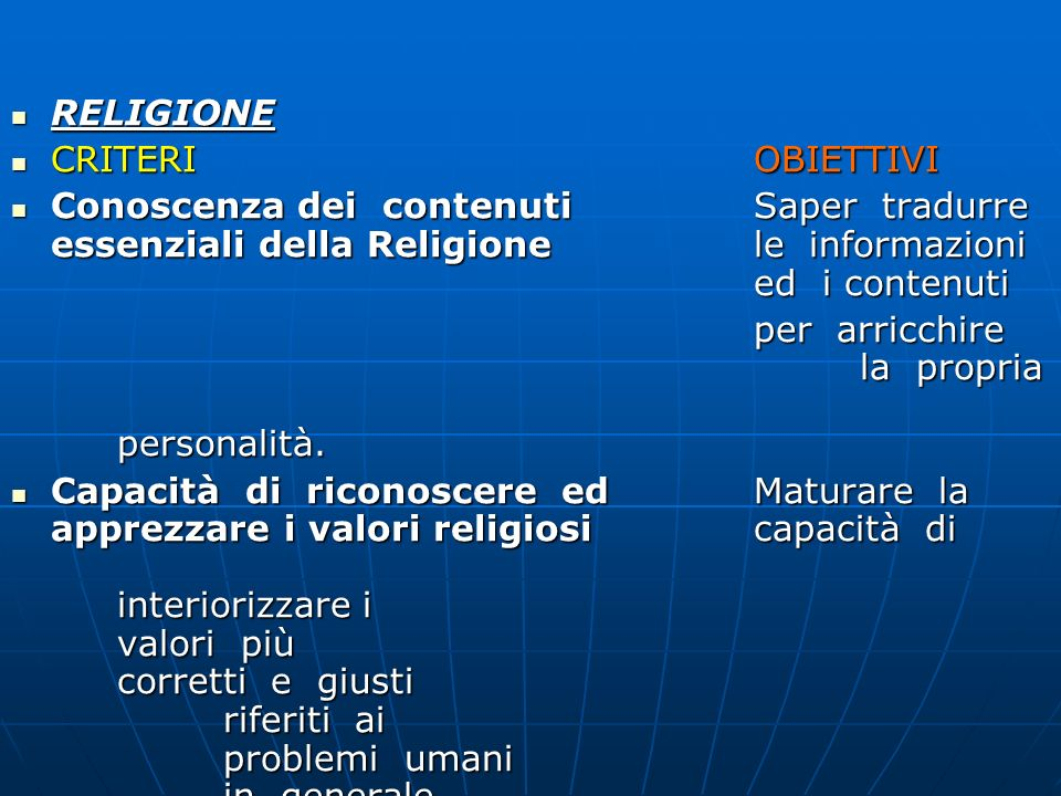 RELIGIONECRITERI OBIETTIVI. Conoscenza dei contenuti Saper tradurre essenziali della Religione le informazioni ed i contenuti.
