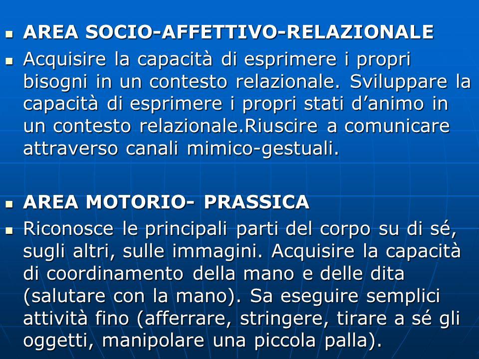 AREA SOCIO-AFFETTIVO-RELAZIONALE