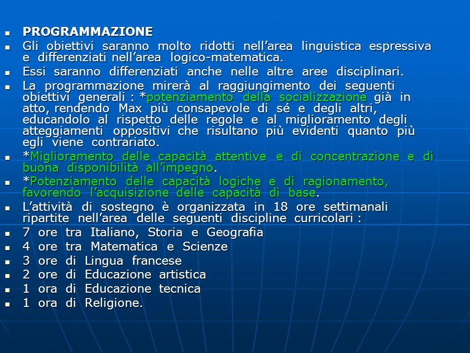 PROGRAMMAZIONE Gli obiettivi saranno molto ridotti nell'area linguistica espressiva e differenziati nell'area logico-matematica.