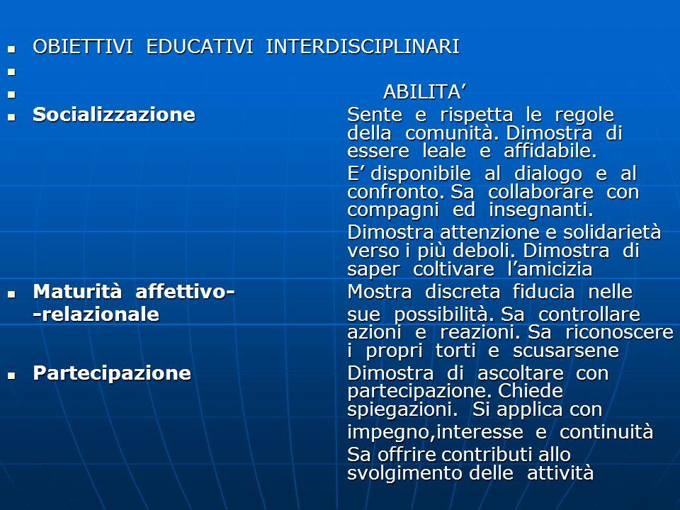 OBIETTIVI EDUCATIVI INTERDISCIPLINARI