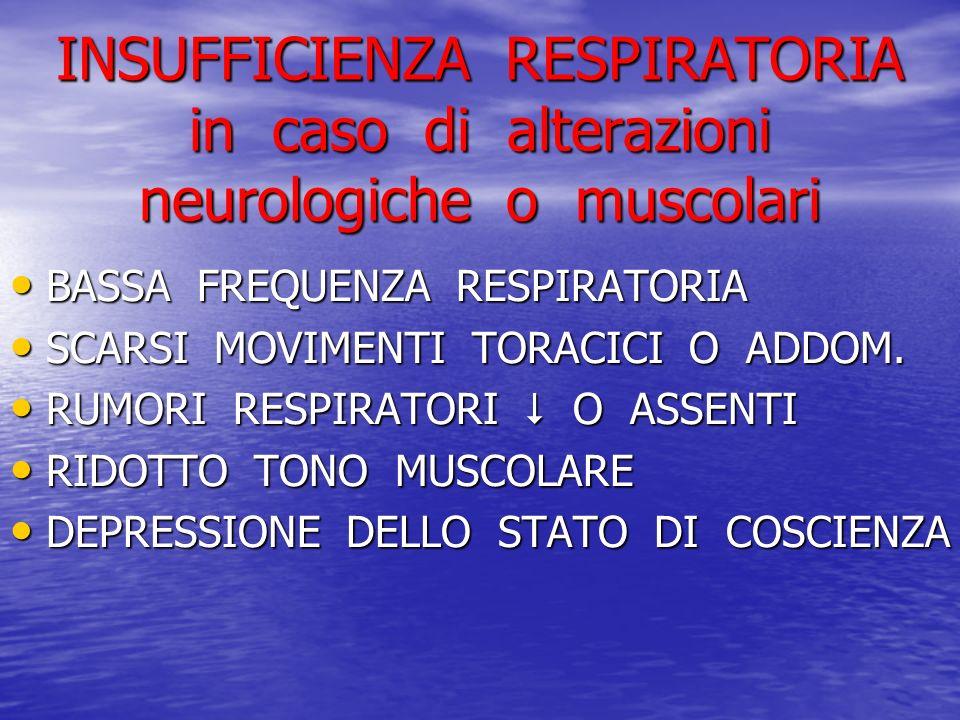 INSUFFICIENZA RESPIRATORIA in caso di alterazioni neurologiche o muscolari