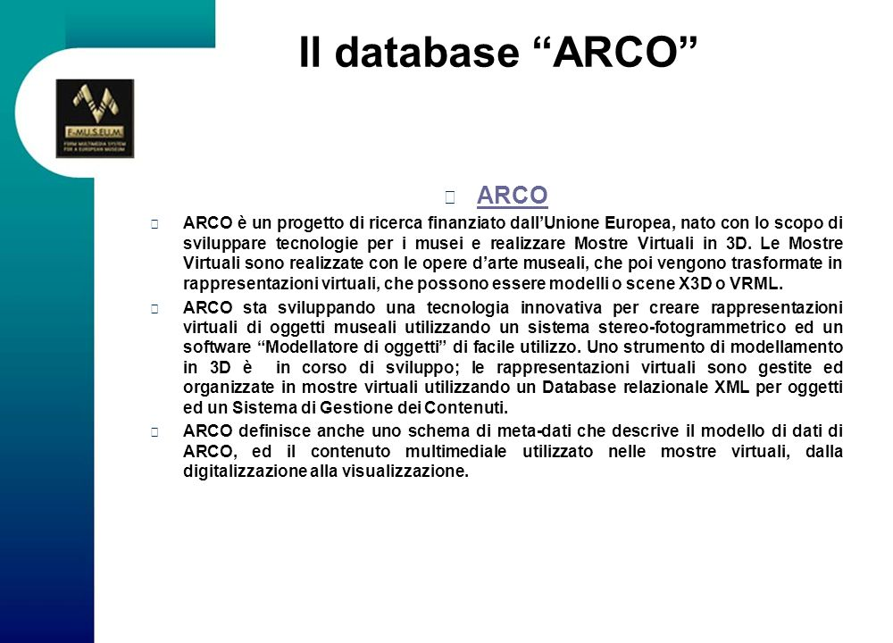 Il database ARCO ARCO