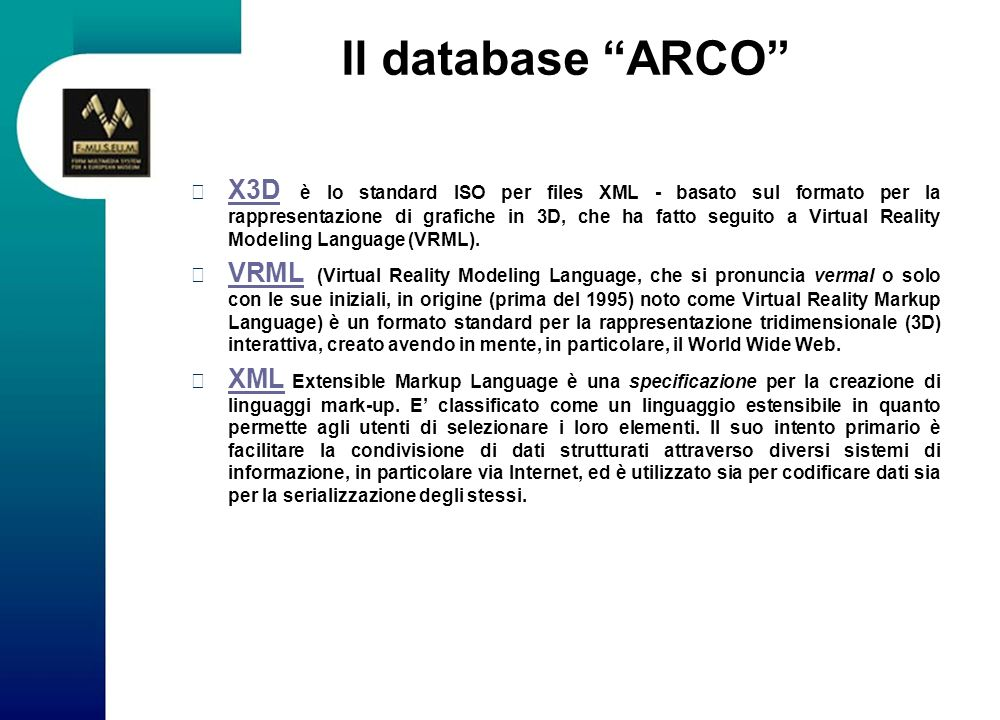 Il database ARCO